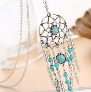 Turquoise Healing Crystal Dreamcatcher Necklace